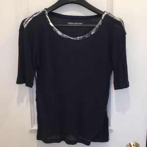 Zadig & Voltaire Navy Foil Tshirt Size XS